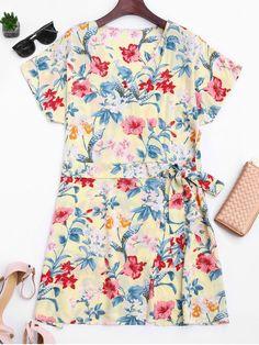 Side Tied Floral Surplice Mini Dress - FLORAL S