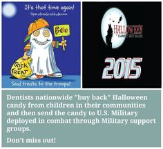 "Wondering what to do with all of your left over #Halloween #Candy?   How about participating in this year's Halloween Candy BuyBack Program?  Dentists nationwide ""buy back"" Halloween candy from children in their communities and then send the candy to U.S. Military deployed in combat through Military support groups for the holidays via Operation Gratitude.  www.SocialRugrats.com"