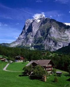 Wooden Chalet and Mountain, Grindelwald, Berne Canton, Switzerland