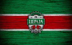 Download wallpapers Liepaja FC, 4k, soccer, Latvian football club, logo, SynotTip Virsliga, FK Liepaja, Latvia, football, wooden texture, FC Liepaja