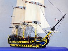 64 Gun Ship of the Line Persephone :: My LEGO creations. Lego Pirate Ship, Lego Ship, Legos, The Hobbit Game, Lego Boat, Pirate Boats, Cool Lego, Awesome Lego, Amazing Lego Creations