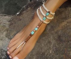 Boho gladiator barefoot sandals with an elegant rustic look in earth tone colors Elegant & natural Stylish accessory for weddings, beach, party and yoga This design is featuring Turquoise, brass and coconut. A 3 row macrame design with a strong expression. The rows are individually