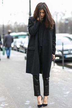 Blk Coat :: Blk Satin Skinny