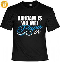 T-Shirt Vater - Dahoam is wo mei Papa is - Geschenk Idee Humor zum Vatertag oder Geburtstag - schwarz, Größe:L (*Partner-Link)