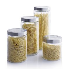 Glass Storage Containers with Stainless Steel Lids - to replace the plastic jars that hold some of the pasta etc.
