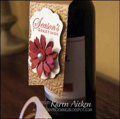 Altered Scrapbooking: Poinsettia Wine Bottle Tags