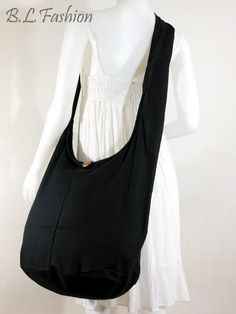USA SHIPPINGBlack Cotton Crossbody Shoulder bag Hippie by NaLuck, $10.99
