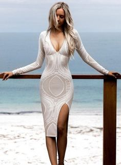 Deep v Neck Long Sleeve front Slit Bodycon Party Dress OASAP.com
