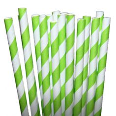 Stripe Lime Green Paper Party Straws - Party Straws - All Products