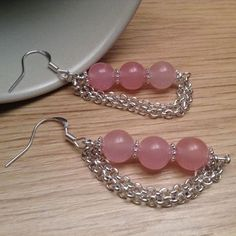 DIY Beads on Headpin with Chain Attached Earrings