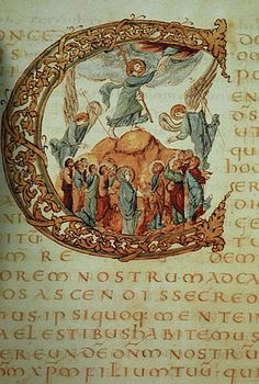 Illuminaated Manuscript: Drogo Sacramentary, ca. a historiated initial 'C' contains the Ascension of Christ. The text is in gold ink. Medieval Manuscript, Medieval Art, Renaissance Art, Illuminated Letters, Illuminated Manuscript, Illustrations Vintage, Carolingian, Book Of Hours, Gold Ink
