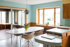 House Tour: A Restored Mid-Century Home in Rhode Island Dining Room Paint, Dining Room Table, Kitchen Dining, Western Furniture, Vintage Furniture, Interior Decorating, Interior Design, Classic Furniture, Contemporary Furniture