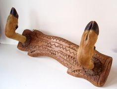 Vintage Deer Hoof & Carved Wood Coat Rack/ by DragonflyGypsySoul