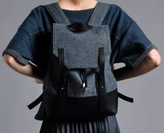 British wool and hand tooled leather backpack by Bronwen Campbell-Golding