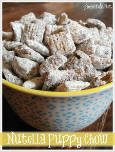 Nutella Puppy Chow at Jam Hands.    My girls love Nutella.  Sounds like a great treat.