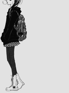 anime outfit black and white girl tumblr - Google Search