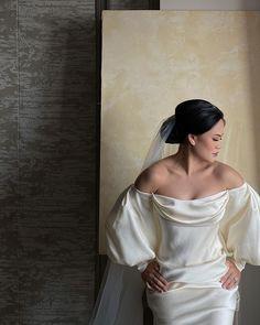"LXE on Instagram: ""The bride @laveniakazan in a @studio.vian timeless gown"" Long Awaited, Dried Flowers, Shoulder Dress, Gowns, Bride, Studio, Pink, Instagram, Dresses"