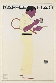 Ludwig Hohlwein, poster Illustration for Kaffee Hag, 1913.