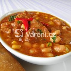 Fotografie receptu: Vepřový guláš na mexický způsob Pork Recipes, Chili, Soup, Chili Powder, Chilis, Soups, Chile, Capsicum Annuum