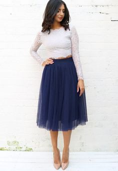 High Waisted Tulle Midi Skirt in Navy Blue