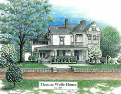 Thomas Wolfe Look Homeward Angel | Thomas Wolfe House, Asheville NC, pen & ink drawing by Lee James ...