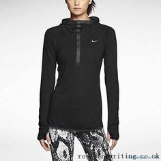 Search 619918-010 Nike Woman Tops Nike Dri-FIT Wool Running Hoodie Black