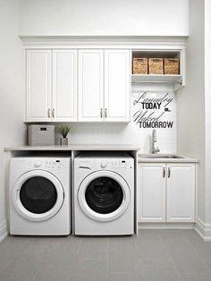 Cozy Basement, Basement Laundry, Laundry Room Organization, Laundry Room Design, Basement Ideas, Basement Plans, Laundry Room With Sink, Laundry Baskets, Garage Laundry