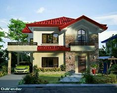 Modern House Design 2012007 is especially designed to fit on a narrow lot having a width of meters. Two Story House Design, Duplex House Design, House Front Design, Dream Home Design, Small House Design, Home Design Plans, Modern House Design, Mexico House, Two Story Homes