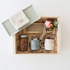 Breakfast in Bed Box / Shell Bisque Morning Set Tumbler and Bowl Shell Bisque Bedside Tray Lite+Cycle Lavender Pillar Candle Granola Project All-Natural Granola Heather Taylor Home Linen Tea Towel Bellocq Atelier No. 01, Bellocq Breakfast