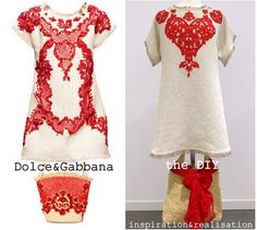 inspiration and realisation: DIY fashion blog: DIY Dolce & Gabbana rafia and coral dress
