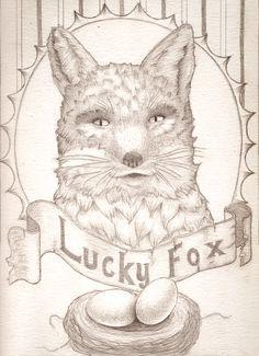 """Whimsical Artwork Titled """"Lucky Fox"""""""