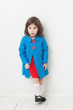 Girls coat Eco friendly linen coat turquoise blue coat