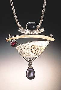 pearl, gold pendant, idell hammondsass, garnet, sterling silver, homes, jewelri, design, blues