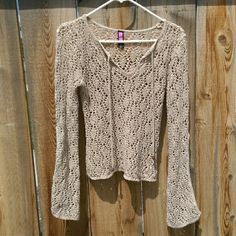 Boho Crochet Top Boho Crochet Super cute top! Long sleeves split to about the elbow giving a very flowy/ gypsy/ bohemian feel. One size fits most. Up to a large. Tight fitting large. Say What? Sweaters