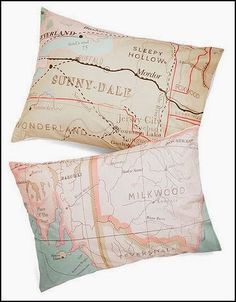 'map your dreams' pillow - promise yourself you'll be there someday somehow