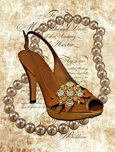 pearl necklace high heel shoe png clip art by DigitalGraphicsShop
