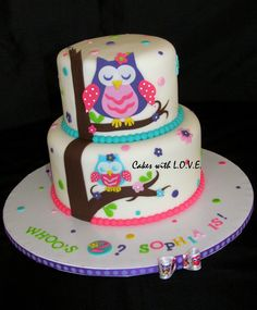 Owl Birthday Cakes for Girls | Owl Blossom Cake - Cake Theater