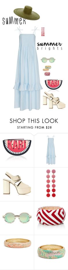 """""""Summer vibes."""" by srtagraham ❤ liked on Polyvore featuring Karl Lagerfeld, Three Graces, See by Chloé, Rebecca de Ravenel, Illesteva, Mola SaSa, Sequin and Samuji"""