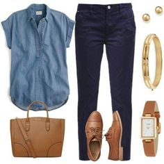 A fashion look from November 2015 featuring J.Crew tops, Gap oxfords and Dorothy Perkins tote bags. Browse and shop related looks. Casual Work Outfits, Classic Outfits, Work Casual, Work Fashion, Fashion Outfits, Womens Fashion, Fashion Edgy, Korean Fashion, Fashion Tips