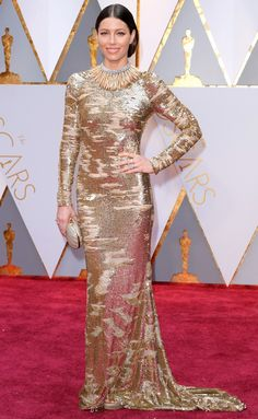 Jessica Biel – Oscars 2017 Red Carpet in Hollywood, Academy Awards, Jessica Biel Style, Outfits and Clothes. Jessica Biel, Isabelle Huppert, Felicity Jones, Gold Gown, Gold Dress, Dior Couture, Emma Roberts, Armani Prive, Nicole Kidman