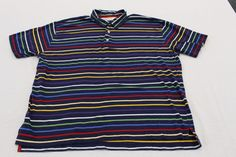 Orvis Mens Blue Multi-Brand Striped Polo Shirt Short Sleeve Casual Wear XL EUC #Orvis #PoloRugby