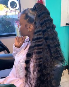 Gamay Hair Virgin Human Hair Deep Water Wave 360 Lace Wigs Pre Plucked with Baby Hairs Weave Ponytail Hairstyles, Easy Hairstyles For Medium Hair, Weave Hairstyles, Hairstyles For Black Women, Ponytail Styles, Baddie Hairstyles, Hairstyles Videos, Braided Hairstyle, Hairstyles 2018