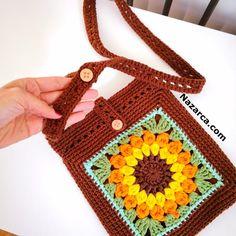 Crochet Drawstring Bag, Crochet Pouch, Cute Crochet, Crochet Bag Tutorials, Diy Crochet Patterns, Crochet Handbags, Crochet Purses, Free Crochet Square, Granny Square Bag