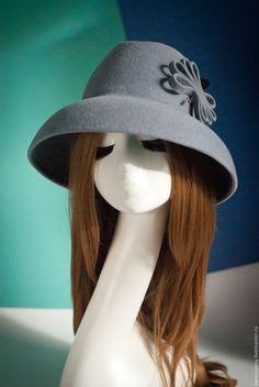 """Купить Шляпа из велюра """"Новолуние"""" - серый, серебристый, бархат, велюр, бархатный, шляпа, широкие поля"""