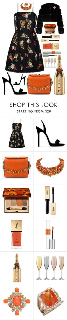 """Autumn Orange 🍁"" by pulseofthematter ❤ liked on Polyvore featuring Alice + Olivia, Giuseppe Zanotti, Givenchy, Alexander McQueen, Luise, Clarins, Yves Saint Laurent, MoÃ«t & Chandon, LSA International and Kenneth Jay Lane"