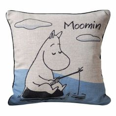Fishing Moomin Print Black Piped Edge Design Cushions Covers 45CMx45CM Cushion Covers Linen Chair Sofa Cushions: Amazon.co.uk: Kitchen & Hom...