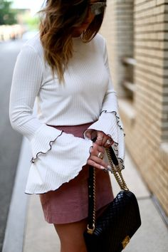 by Megan Runion For All Things Lovely, Chanel Shoes, Chanel Handbags, Mac Lipstick, Leather Skirt, Christian Louboutin, Winter Fashion, Bell Sleeves, Mini Skirts