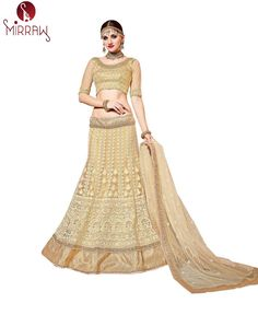 Patang International Butterfly Net Gold Coloured Pearl Moti Work Wedding Wear Semi-Stitched Lehenga With Blouse and With Dupatta.(Product Details : Fabric - Lehenga : Butterfly Net, Blouse : Brocade + Net sleeve, Dupatta : Net, Inner : Can-Can). Bollywood Party, Indian Bollywood, Gold Lehenga, Lehenga Online, Lehenga Style, Party Wear Lehenga, Ghagra Choli, Lehenga Designs, Golden Color
