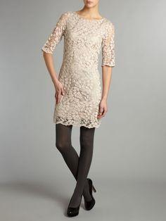 Pied A Terre Lace Shift Dress in Beige (nude) - Lyst