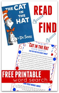 Dr.Seuss Day FREE Printable. Great Cat in the hat activity for elementary aged kids. Perfect after school activity served up with some green eggs and ham!